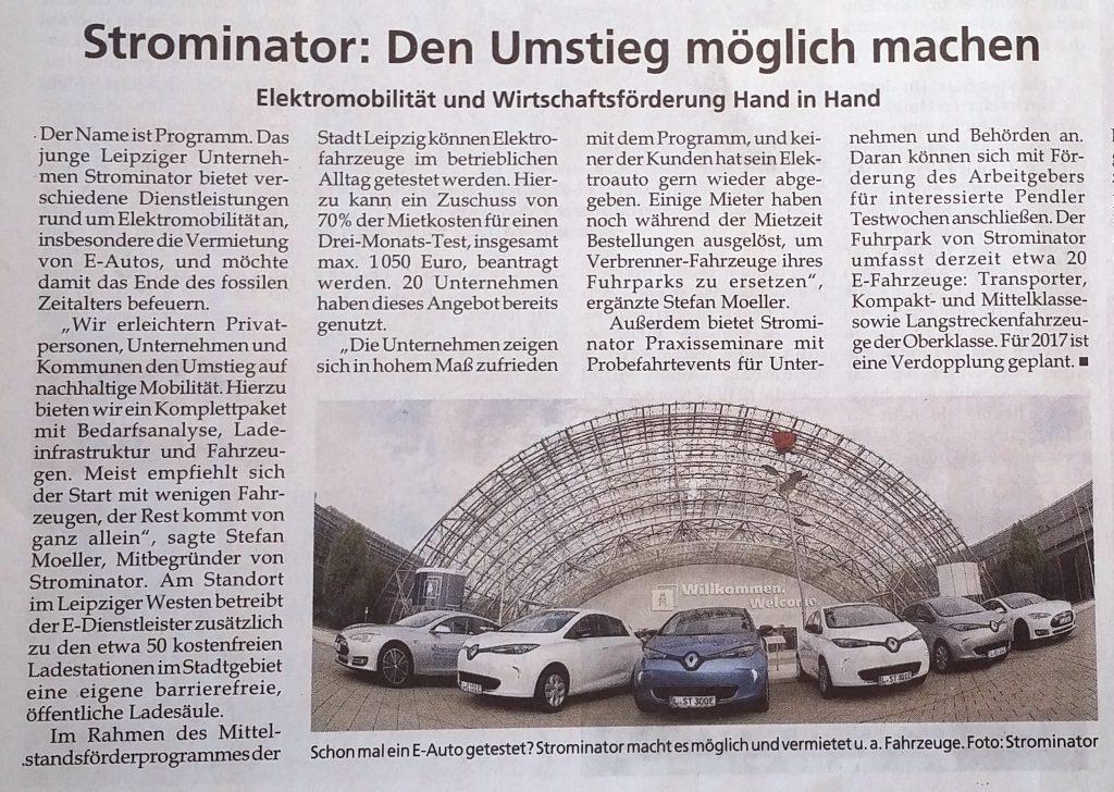 Strominator im Leipziger Amtsblatt - Elektroautos einfach mieten