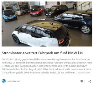 Electrive.net Strominator - BMW i3s Fuhrparkerweiterung Flottenmanagement