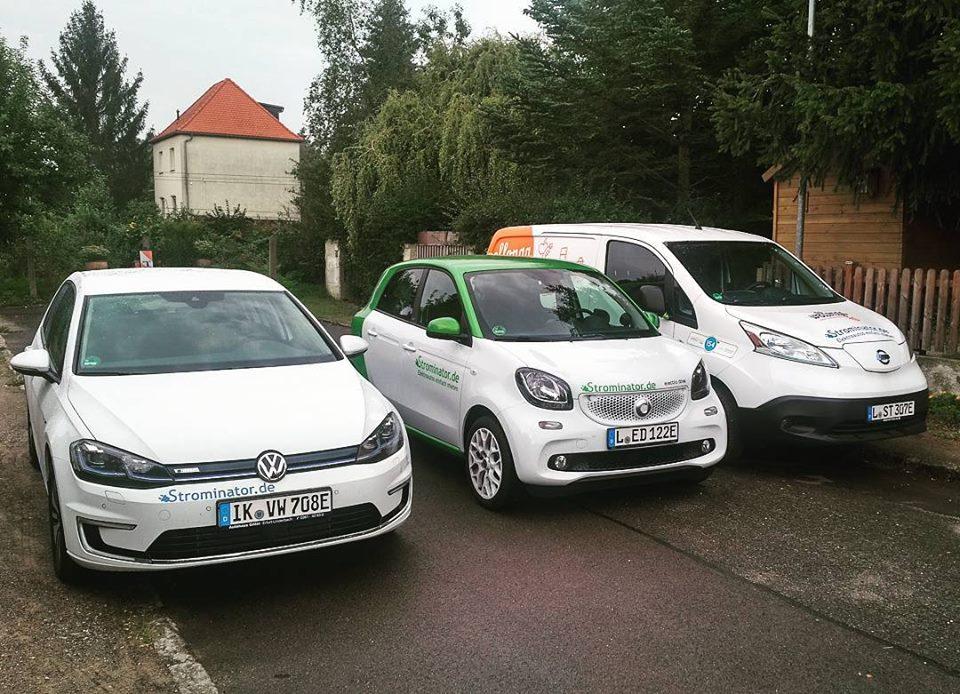 Strominator Mieter testen sich durch Fuhrpark VW e-Golf smart Nissan e-NV200