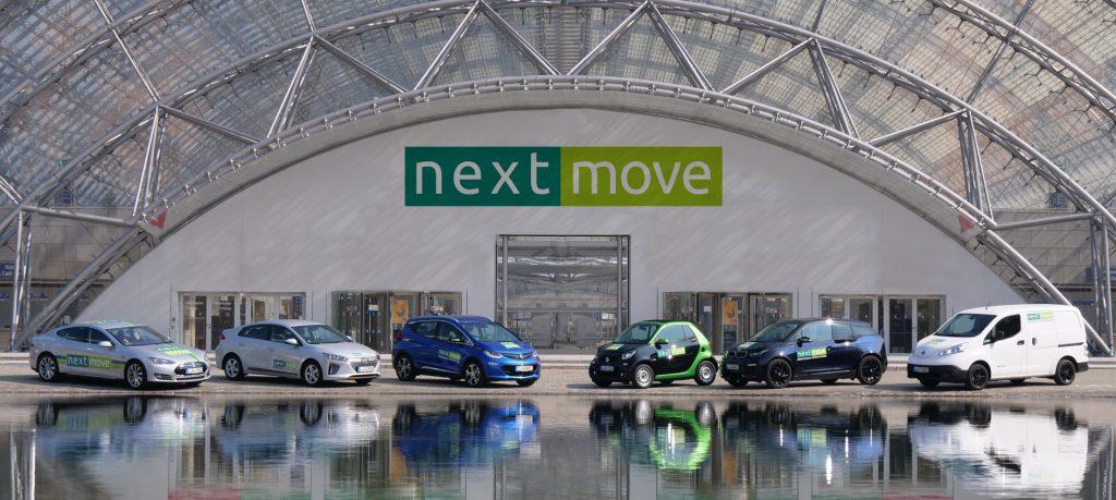 nextmove Elektroautos vor der Messe Leipzig