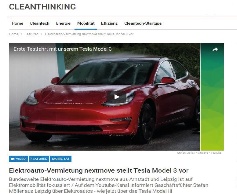 cleanthinking -Tesla Model 3 bei nextmove Sensation