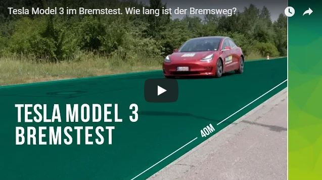 Bremstest Tesla Model 3