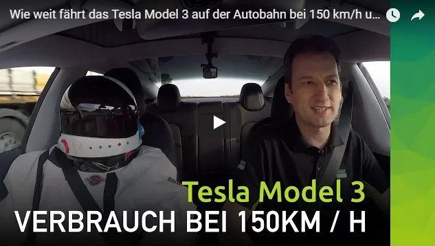 Tesla Model 3 Reichweitentest auf Autobahn