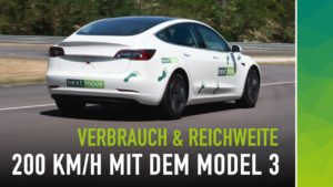 Tesla Model 3 bei 200 kmh - Reichweite und Verbrauch