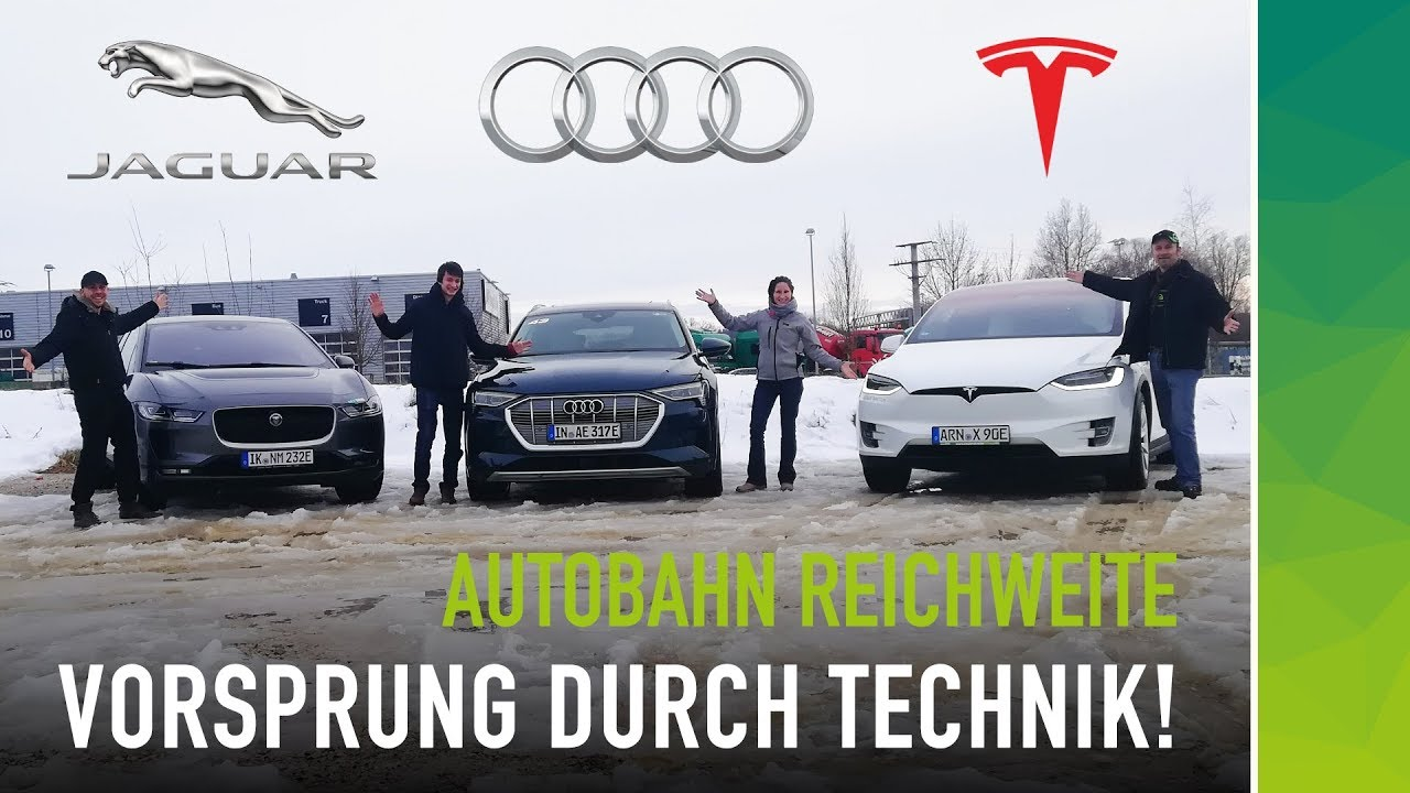 Reichweitentest Audi etron Tesla Model X Jaguar I-Pace nextmove - Video