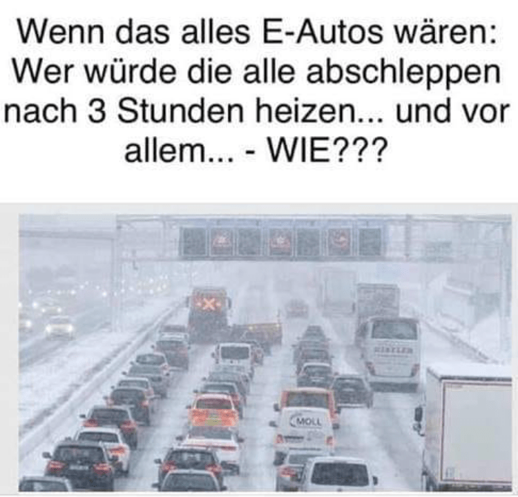 Elektroauto Stau Winter Vollsperrung E-Auto abschleppen