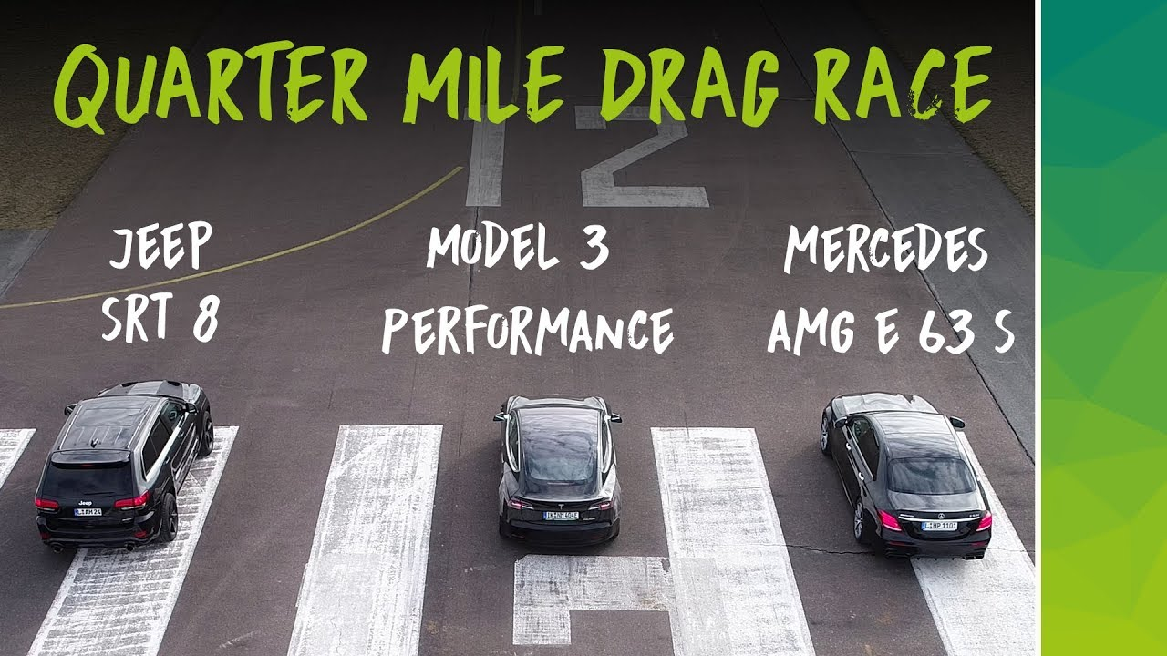 nextmove Drag Race Tesla Model 3 Performance Mercedes AMG E 63 S Jeep SRT8