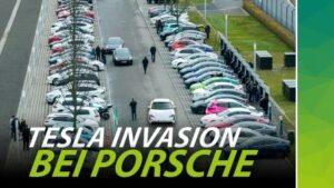 Video-Vorschau zu einer Porsche-Party mit Tesla-Invasion in Leipzig