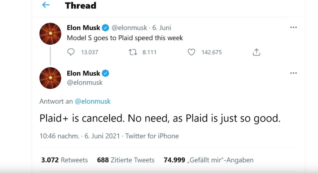 Elon Musk Tweet Model S Plaid Plus