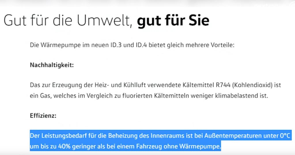 VW Aussage Wärmepumpe