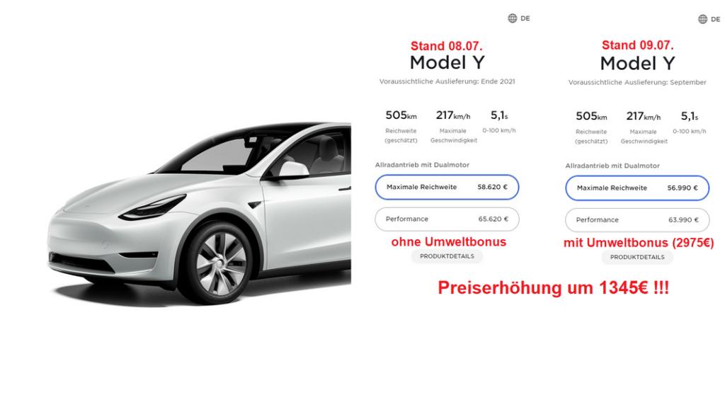 Tesla Model Y Bestellseite Preis Deutschland