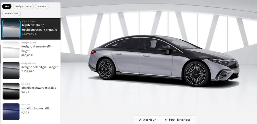 Mercedes EQS Farbwahl