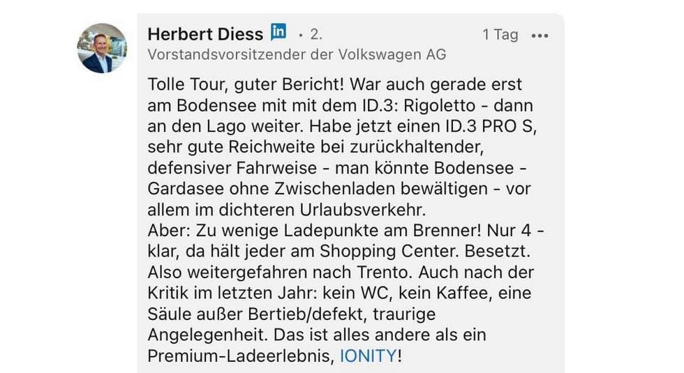 Ionity Kritik Herbert Diess