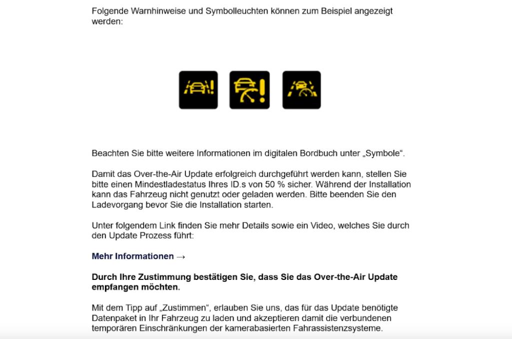 VW Update Zustimmung